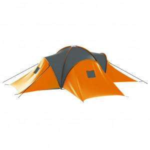 Cort camping, 9 persoane, gri și portocaliu, material textil