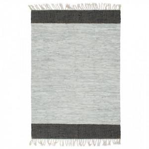 Covor Chindi țesut manual, gri și negru, 120x170 cm, piele