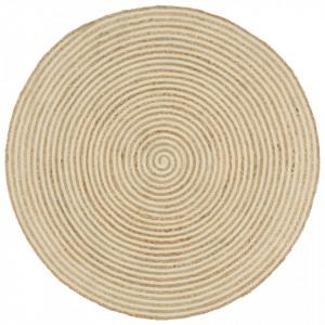 Covor lucrat manual cu model spiralat, alb, 150 cm, iută