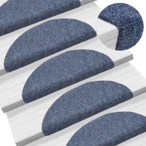 Covorașe autocolante de scări, 15 buc, 54 x 16 x 4 cm, albastru