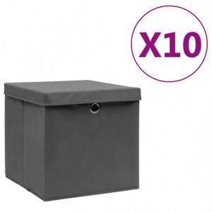 Cutii depozitare cu capac, 10 buc., gri, 28x28x28 cm