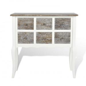 Dulap consolă cu 6 sertare, maro și alb, lemn