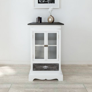 Dulap cu 2 uși și 1 sertar, alb, lemn