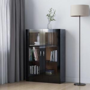 Dulap cu vitrină, negru extralucios, 82,5 x 30,5 x 115 cm, PAL