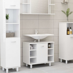 Dulap de baie, alb extralucios, 60 x 32 x 53,5 cm, PAL