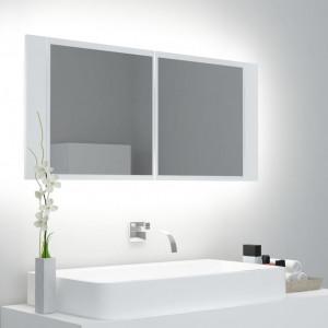 Dulap de baie cu oglindă și LED, alb, 100x12x45 cm
