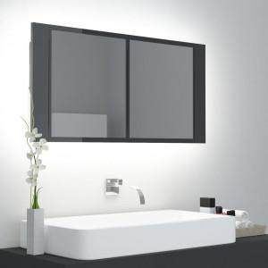 Dulap de baie cu oglindă și LED, gri extralucios, 90x12x45 cm