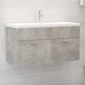 Dulap de chiuvetă, gri beton, 90x38,5x46 cm, PAL