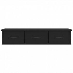 Dulap de perete cu sertare, negru, 90x26x18,5 cm, PAL