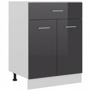 Dulap inferior cu sertar, gri extralucios, 60x46x81,5 cm, PAL