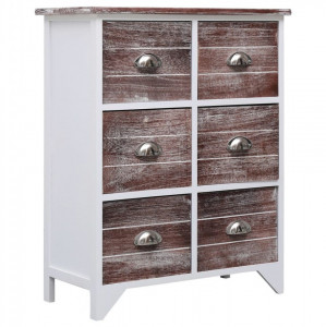 Dulap lateral, 6 sertare, maro, 60x30x75 cm, lemn paulownia