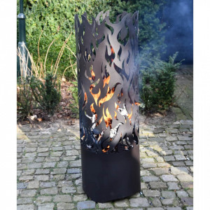 Esschert Design Coș de foc Flames, negru, oțel carbon FF408