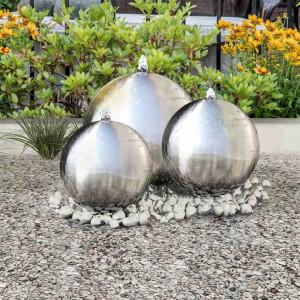Fântâni sferice de grădină cu LED-uri, 3 piese, oțel inoxidabil