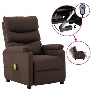 Fotoliu de masaj rabatabil electric, maro, piele ecologică