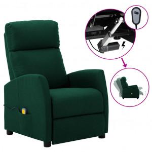 Fotoliu de masaj rabatabil electric, verde închis, țesătură