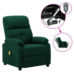 Fotoliu masaj rabatabil electric verde închis material textil