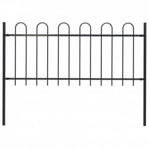 Gard de grădină cu vârf curbat, negru, 1,7 x 1 m, oțel