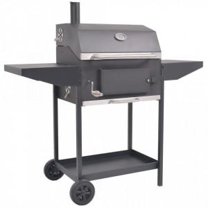 Grătar barbecue cu cărbuni, afumătoare și raft jos, negru