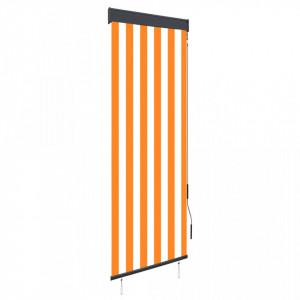Jaluzea tip rulou de exterior, alb și portocaliu, 60 x 250 cm