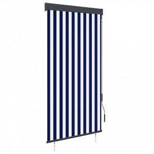 Jaluzea tip rulou de exterior, albastru și alb, 100 x 250 cm