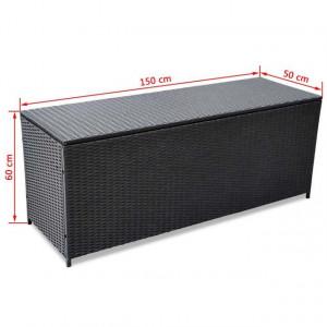 Ladă de depozitare de grădină, negru, 150x50x60 cm, poliratan