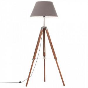 Lampă de podea trepied, maro miere și gri, 141 cm, lemn de tec