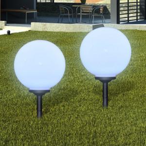 Lămpi solare de grădină în formă de glob cu țepușă LED 2 buc.
