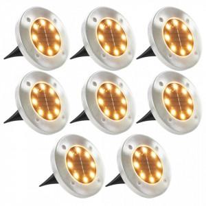 Lumini solare pentru sol, 8 buc., LED, alb cald