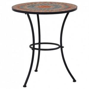 Masă de bistro mozaic, portocaliu/gri, 60 cm, ceramică
