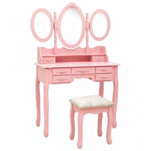 Masă de toaletă cu taburet și triptic oglinzi, roz