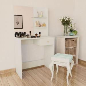 Masă de toaletă, PAL, 75x40x141 cm, alb