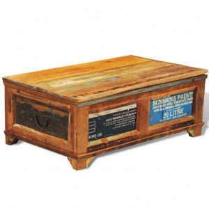 Măsuță de cafea cu spațiu depozitare, vintage, lemn reciclat