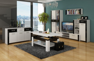 Mobila Sufragerie Hugo Set 1 White/Black Hight Gloss