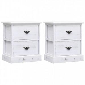 Noptiere, 2 buc., alb, 38 x 28 x 45 cm, lemn de paulownia