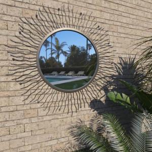 Oglindă de perete de grădină, negru, 80 cm, raze de soare