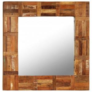 Oglindă de perete, lemn masiv reciclat, 60 x 60 cm