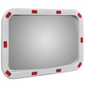Oglindă de trafic convexă dreptunghiulară, 40 x 60 cm, cu reflectoare