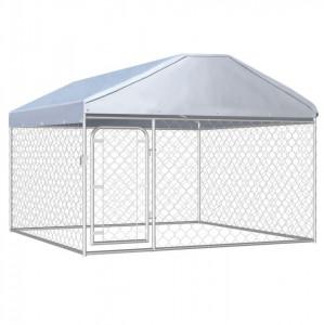 Padoc de câini de exterior cu acoperiș, 200 x 200 x 135 cm