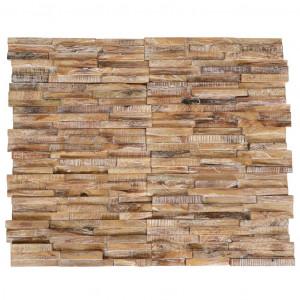 Panouri placare pereți 3D, 10 buc., 1,01 m², lemn masiv de tec