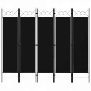 Paravan de cameră cu 5 panouri, negru, 200 x 180 cm