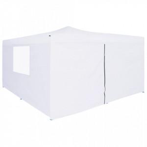 Pavilion pliabil cu 4 pereți laterali, alb, 5 x 5 m