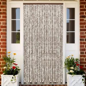 Perdea pentru insecte, gri taupe și alb, 100 x 220 cm, chenille