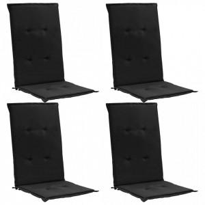 Perne scaun de grădină, 4 buc., negru, 120 x 50 x 3 cm