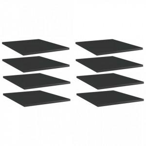 Plăci bibliotecă, 8 buc. negru extralucios 40 x 50 x 1,5 cm PAL