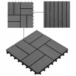 Plăci de pardoseală, 22 buc., gri, 30 x 30 cm, WPC, 2 mp