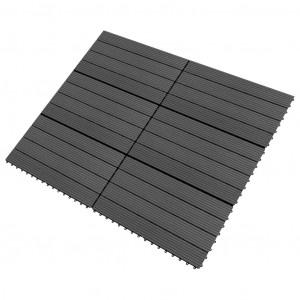 Plăci de pardoseală, 6 buc., negru, 60x30 cm, WPC, 1,08 m²
