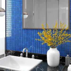 Plăci mozaic autoadezive, 22 buc., albastru, 30x30 cm, sticlă