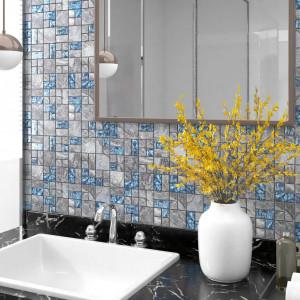 Plăci mozaic autoadezive 22 buc. gri&albastru, 30x30 cm, sticlă