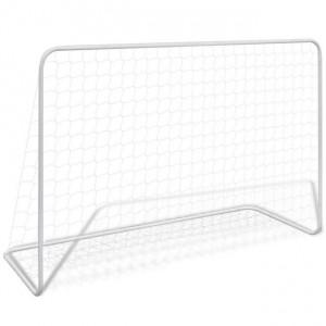 Poartă de fotbal cu plasă alb 182x61x122 cm oțel