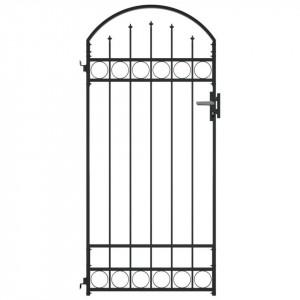 Poartă de gard cu arcadă, negru, 100 x 200 cm, oțel